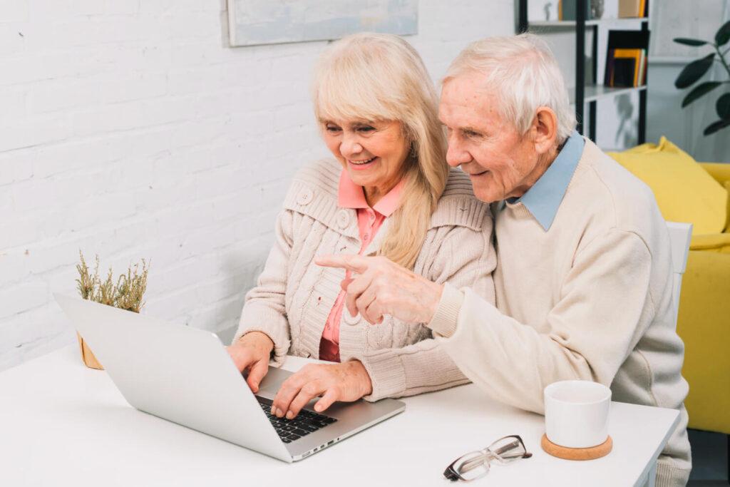 Senior couple doing video call